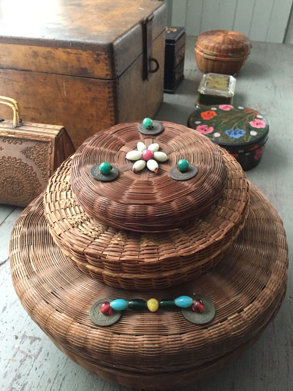 Old sowing baskets and boxes