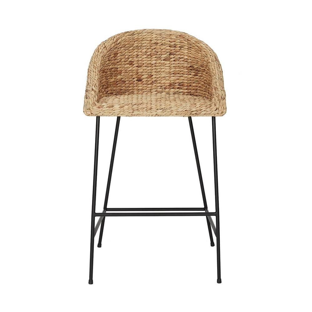 Stylewell Black Metal Bar Stool With Back And Natural Seat 21 42