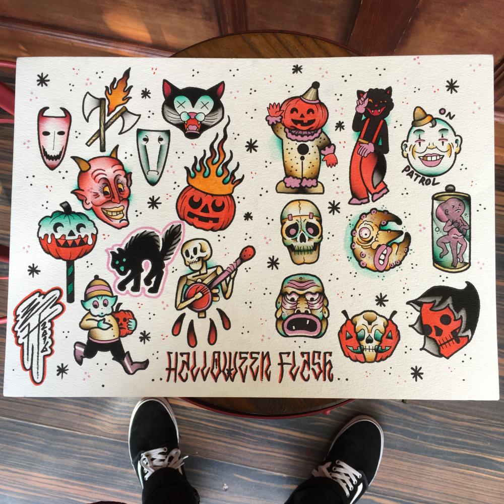 halloween tattoo flash Google Search in 2020 Spooky