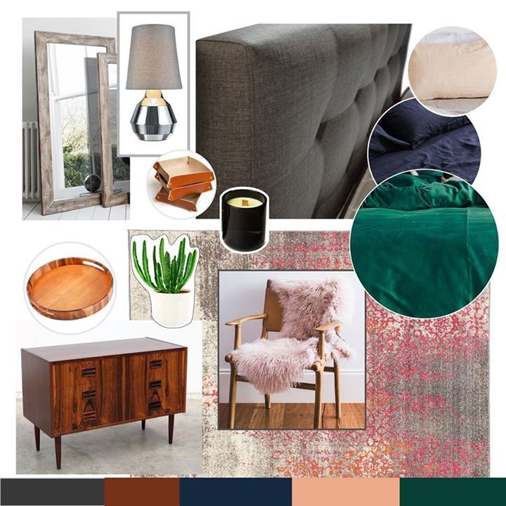 Concept For Bedroom. Emerald Green, Navy Blue, Blush Pink, Mid Century  Modern · Grey Upholstered ...