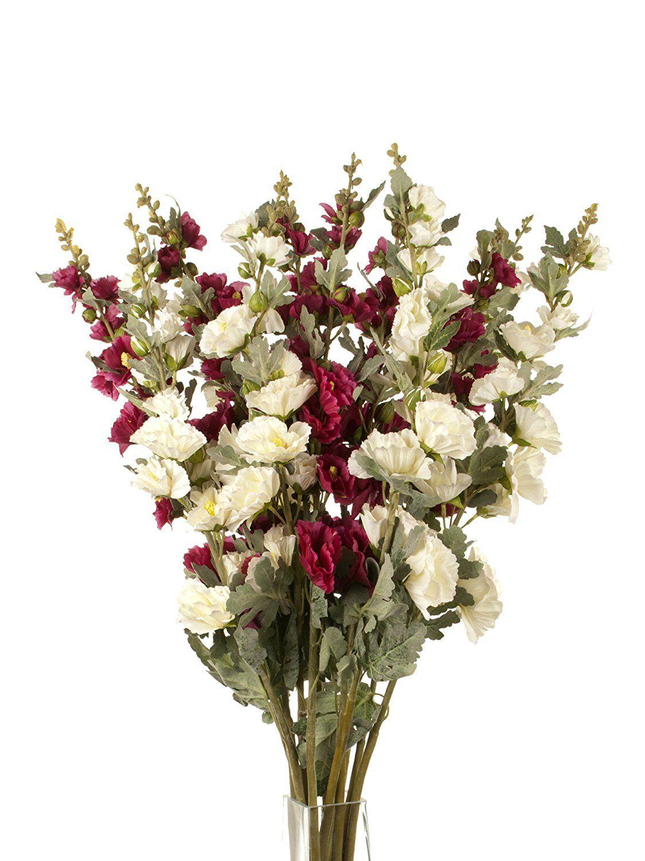 Floral Elegance Artificial 103cm Single Stem Hollyhocks X 12 6 X