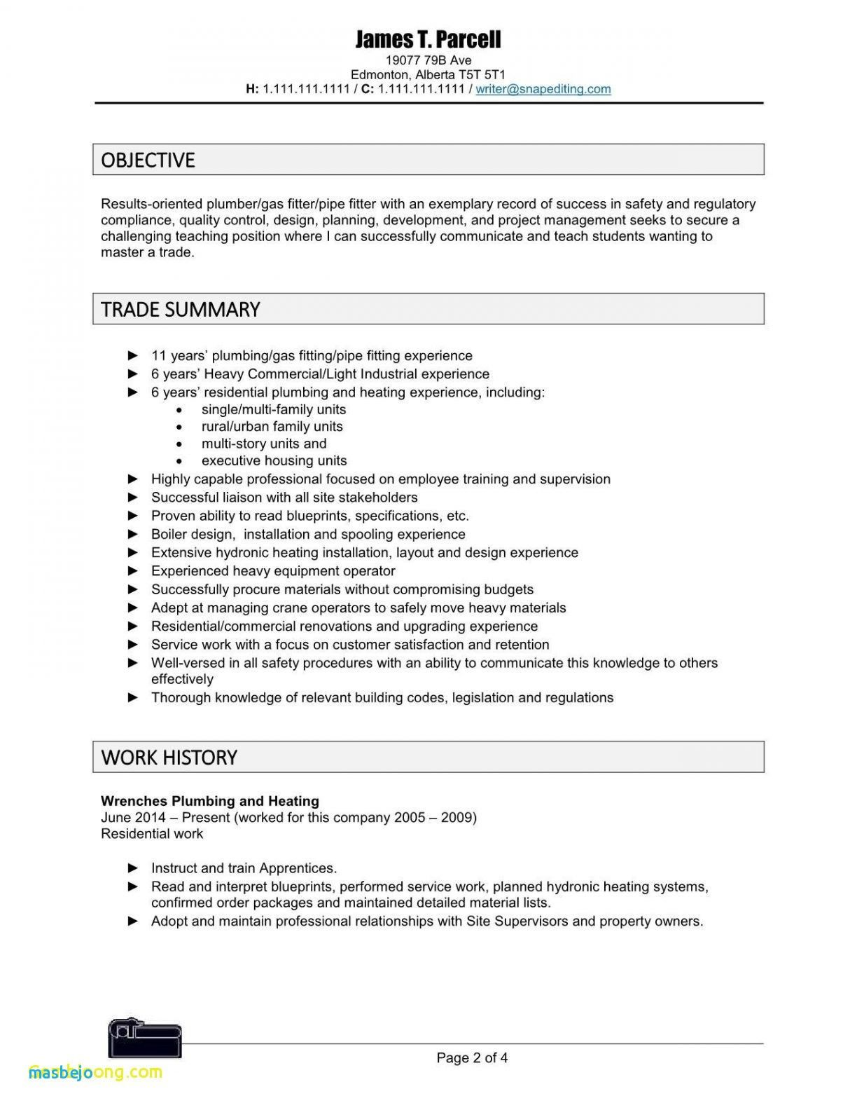79 Best Of Images Plumber Pipefitter Resume Examples Free Check More At