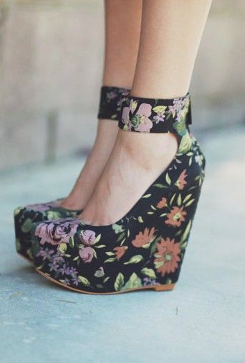 9ac40a67cf54 Floral Wedges by Matiko  ---HAVE THESE!!!! good thing I m 5 1 because  that s a MONSTER HEEL!