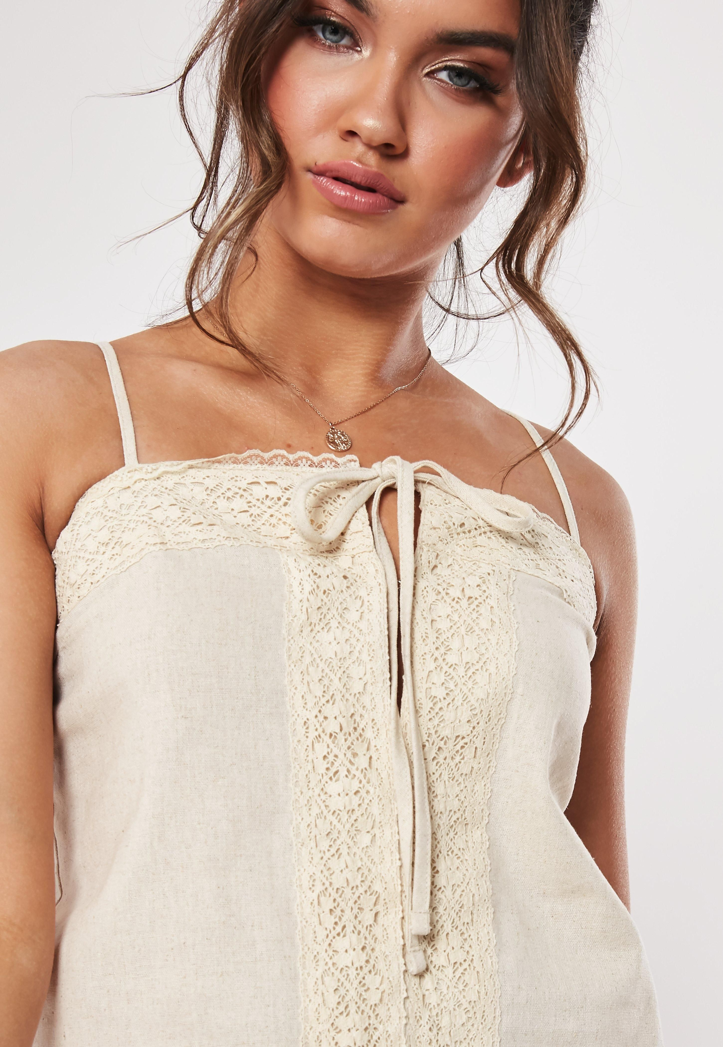 Cream Linen Lace Trim Hook And Eye Cami Top Sponsored Lace Sponsored Trim Cream Casual Summer Dresses Cami Tops Fashion