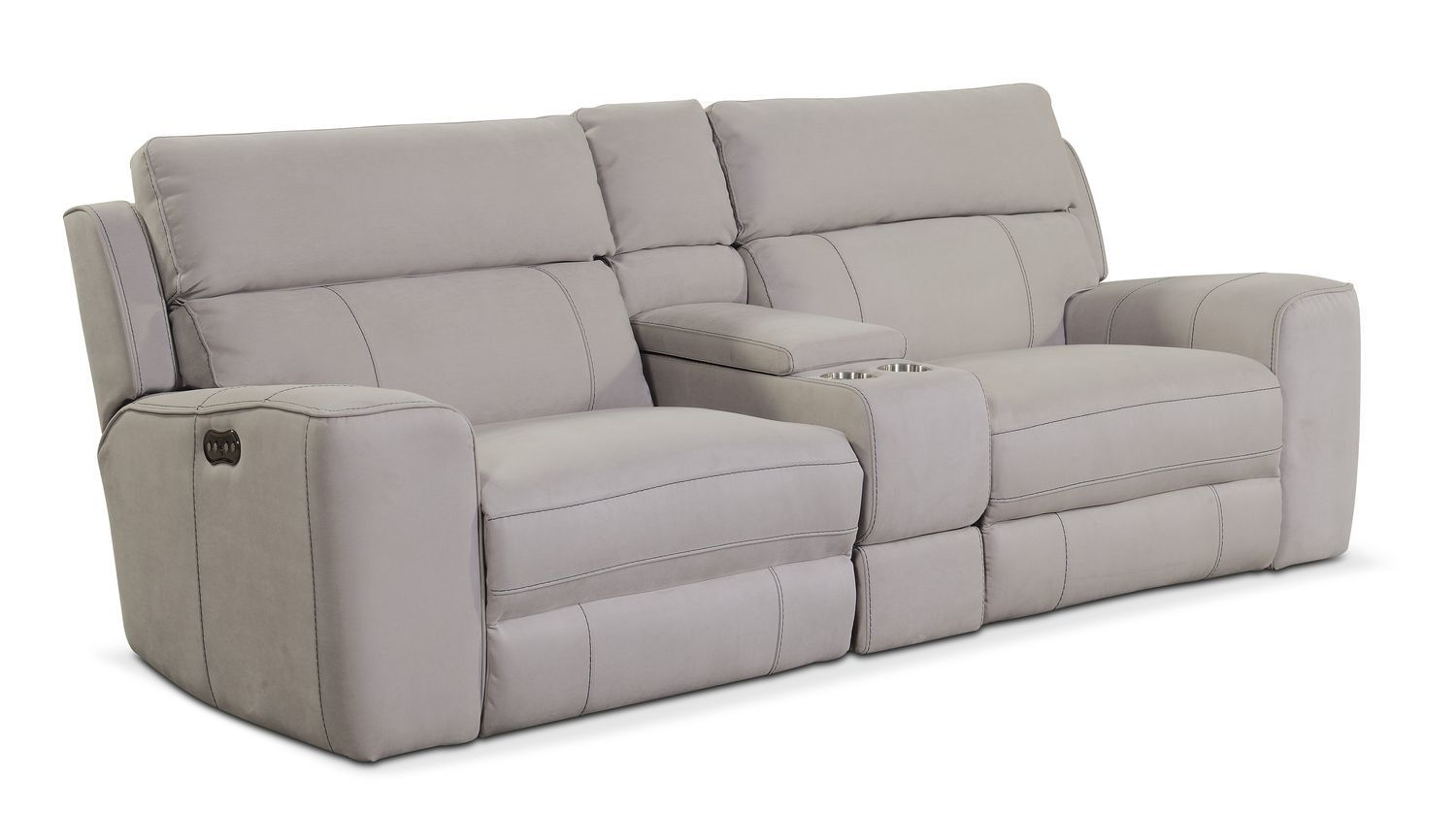 Newport 3 Piece Dual Power Reclining Sofa With Console Light Gray In 2020 Reclining Sofa Sofa Recliner