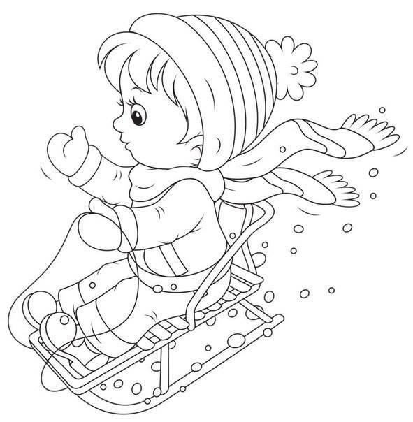 Jocurile Copiilor Iarna Planse De Colorat Imagini Fise