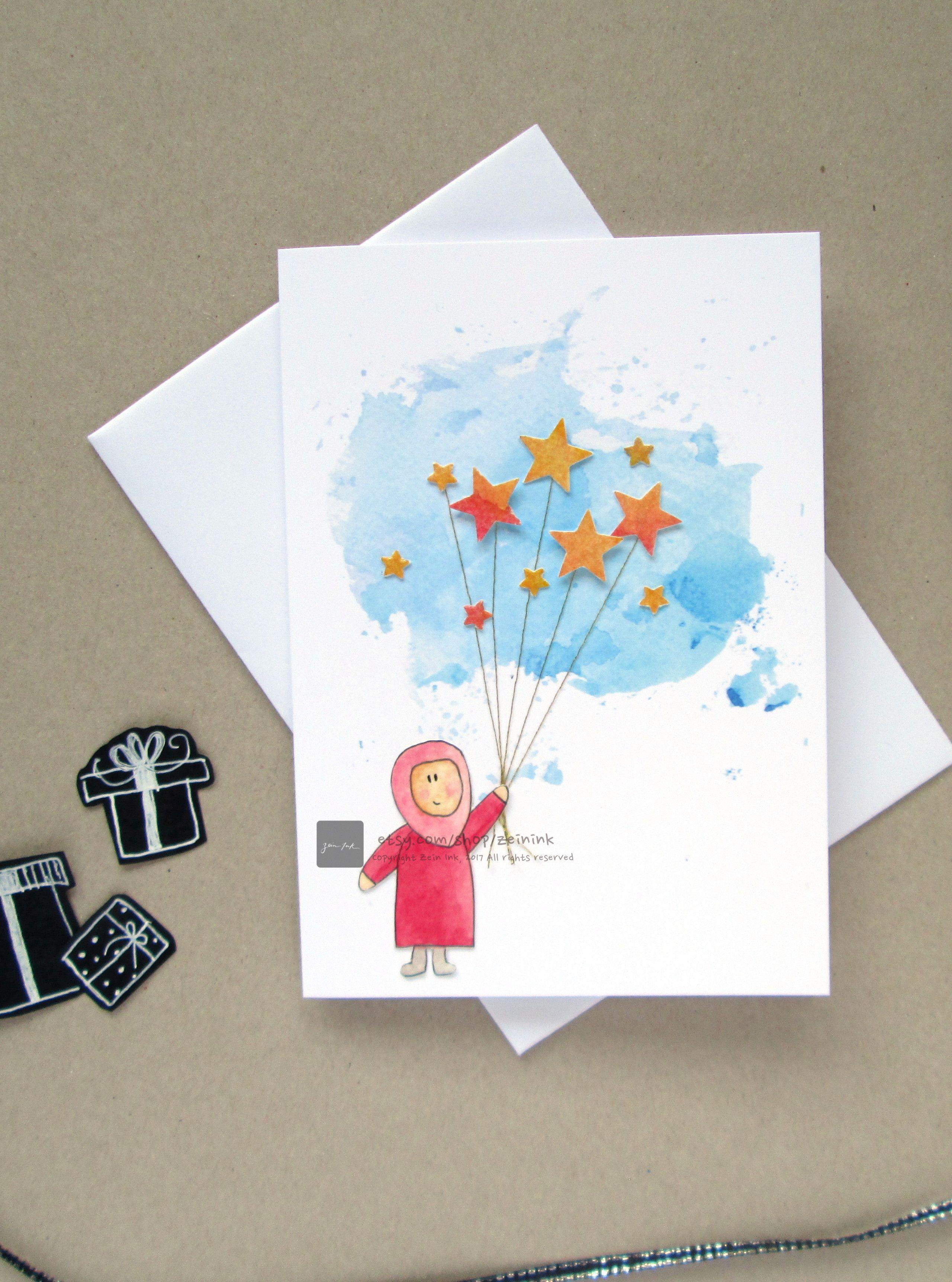 Printable Happy Eid Card Diy 3d Watercolour Card Little Girl