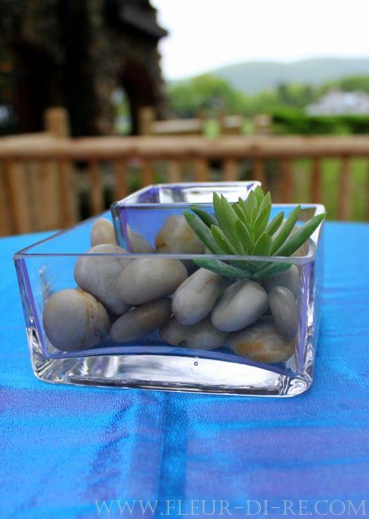 Stout glass vase rocks and succulent centerpiece stems