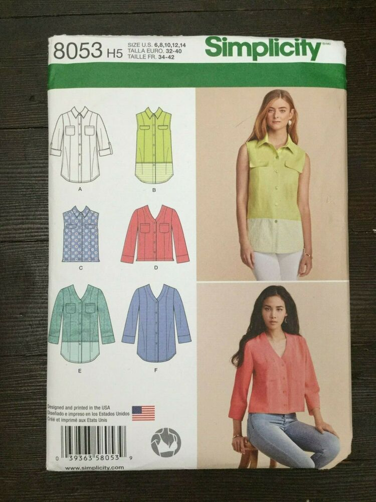 Simplicity 8053 Misses Shirt Size 6 8 10 12 14 Length and Front Variations Uncut