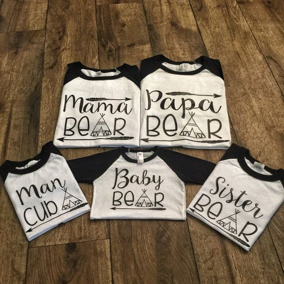451cebd2 Mama Bear Papa Bear and Baby Bear Matching by ThatOneCraftyCouple. All  shirts are Raglan 3/4 sleeve black and white. Shirts can be added to your  cart ...