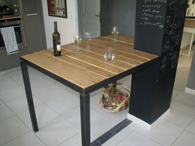 Mange Debout Style Industriel Bois Metal Micheli Design Ameublement Pinterest Table Design Et Diy