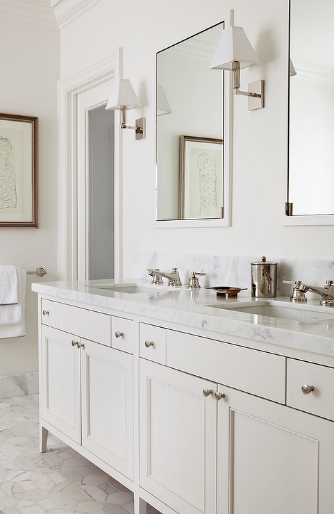 Chic Master Bath Features A Cream Double Vanity Topped With White