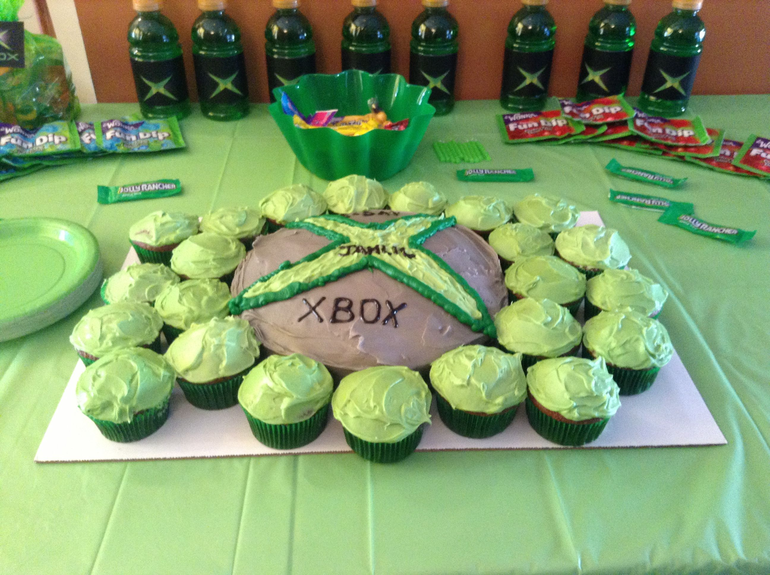 X box logo cake and cupcakes. Video game party. Video