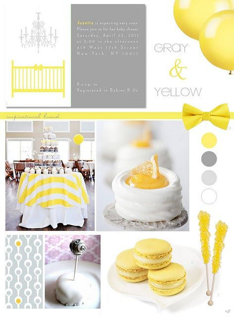 gray + yellow invitation for wedding though