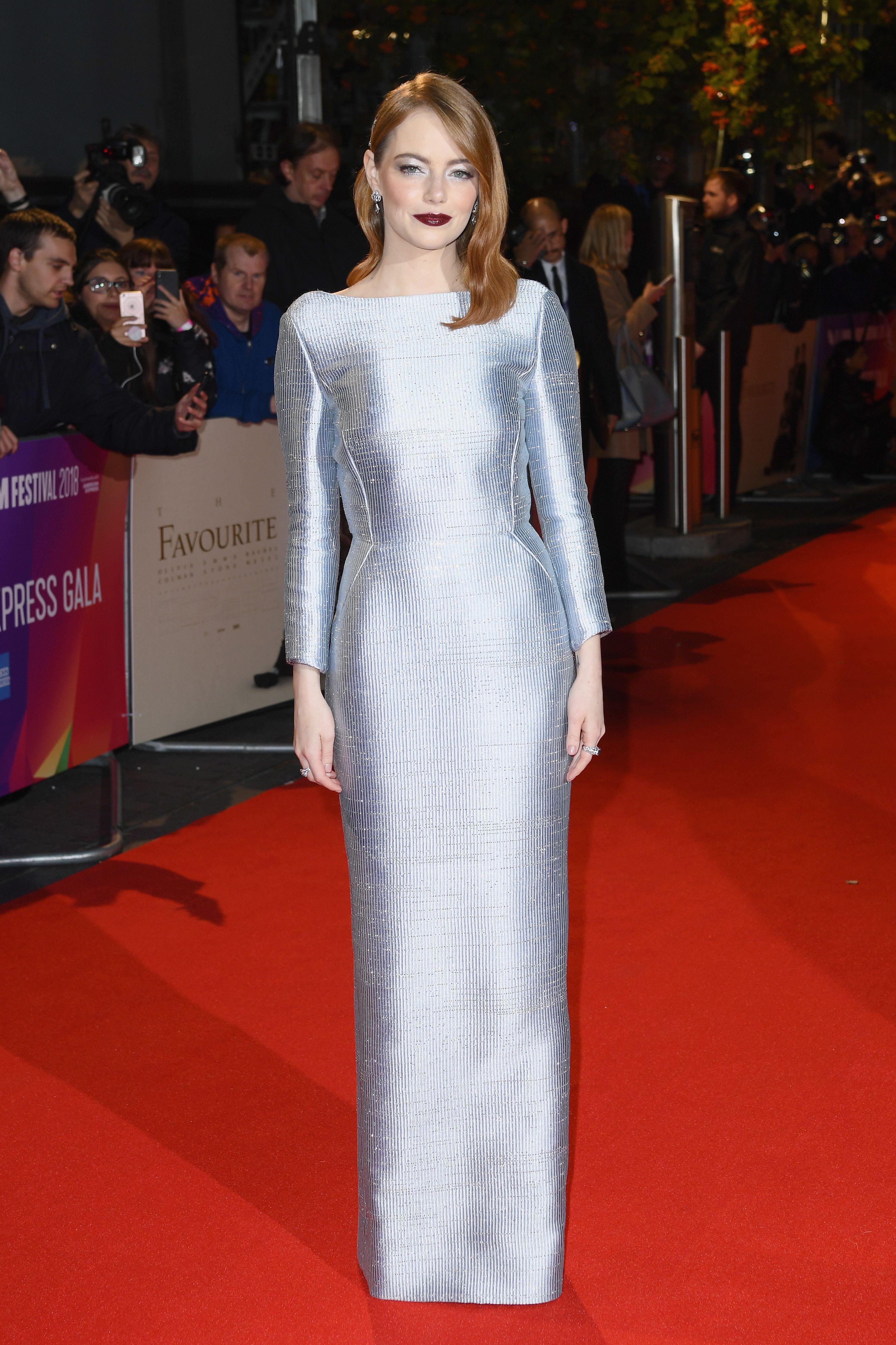 Emma Stone In Louis Vuitton –  The Favourite  London Film Festival Premiere 376218fb23