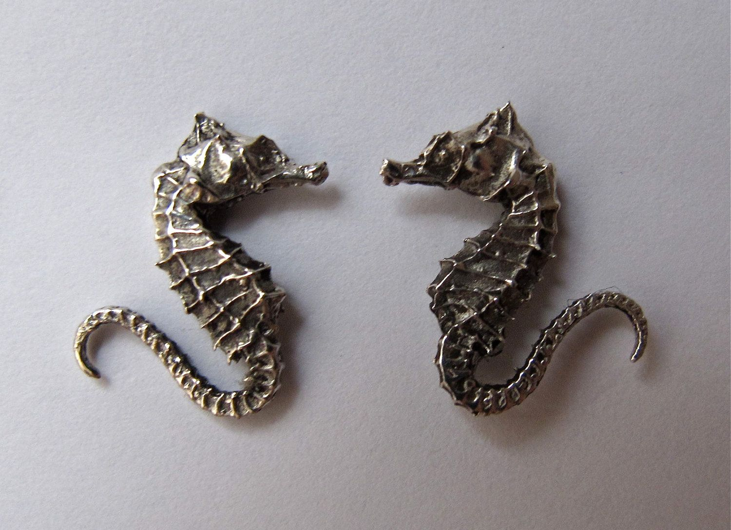 Sterling Silver Seahorse Earring Studs By Ojodelacara On Etsy 90 00