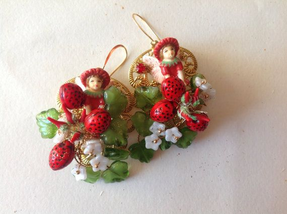 antique victorian style Fairies earrings by Lunabarocca on Etsy