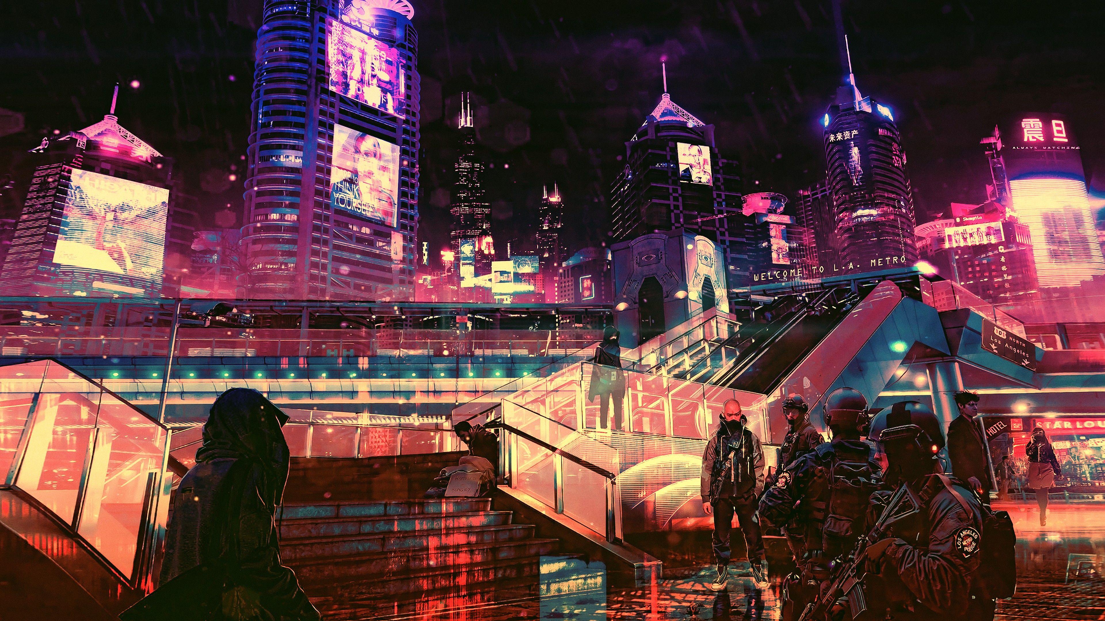 Futuristic Cyberpunk Future World 4k 6401 Samsung Wallpaper Sci Fi Wallpaper Cyberpunk