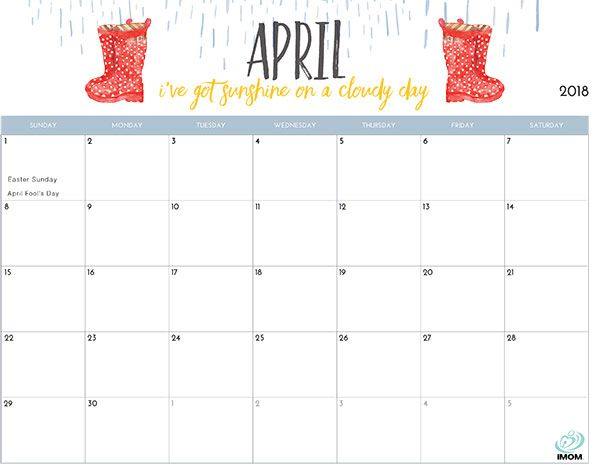 2018 Printable Calendar for Moms   Printable calendars and Planners