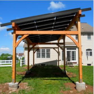 Solar Pergola, like wood frame on cement support. Solar