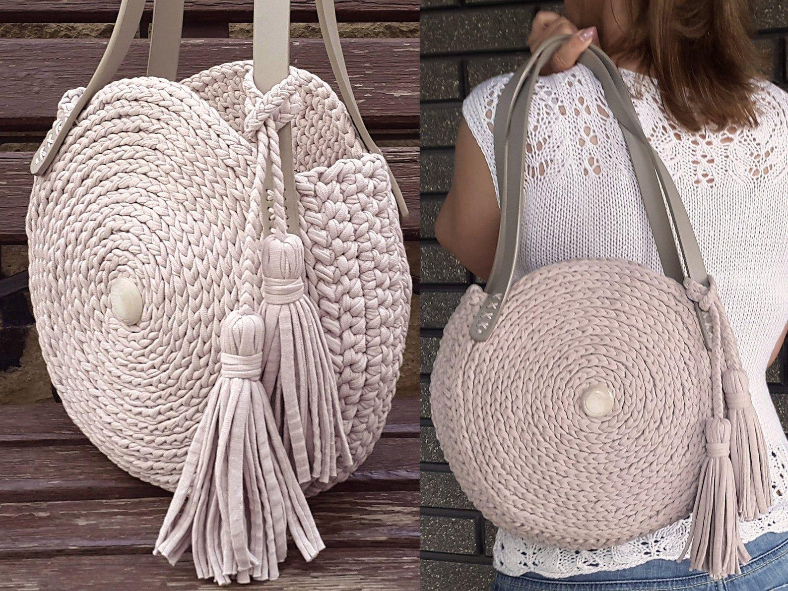 Bolso redondo de ganchillo Bolso círculo de punto elegante redondo de las mujeres bolso grueso hecho a mano bolsa de la playa bolso de hombro bolso de hombro cómodo bolso de verano bolso de mano