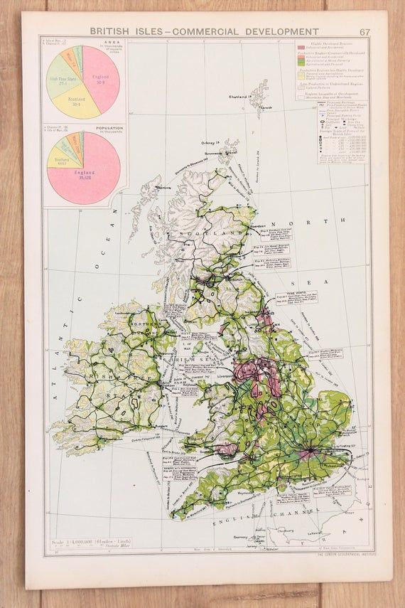 Antique Map of British Isles Commercial Development, Historical, Philips c. 1925. Lovely Pastel Colo #britishisles