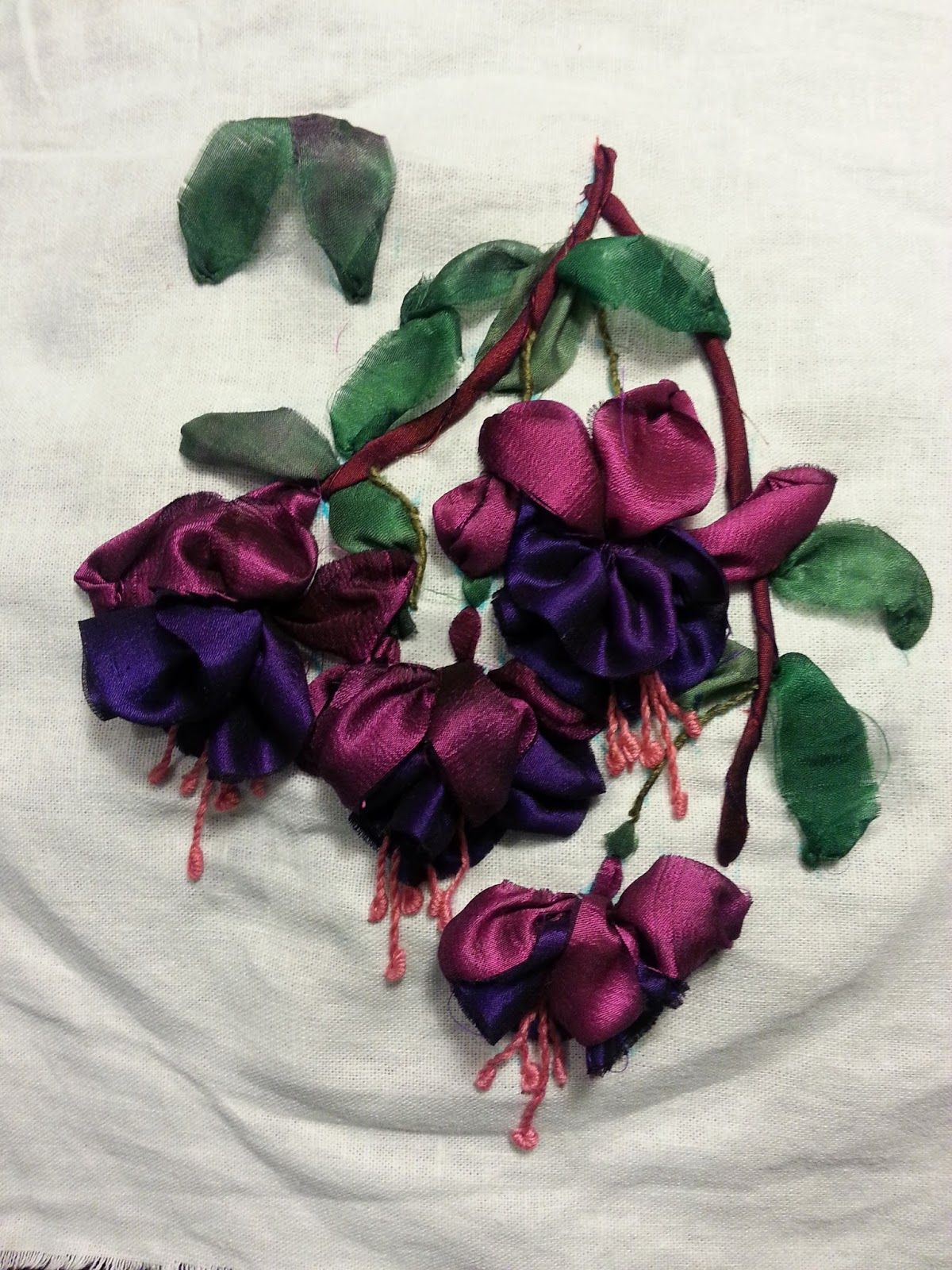 Silk ribbon embroidery. Fuchsia