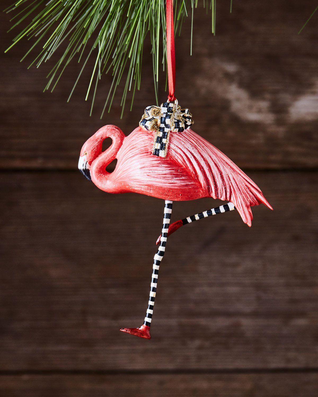 MacKenzieChilds Wonderland Flamingo Christmas Ornament