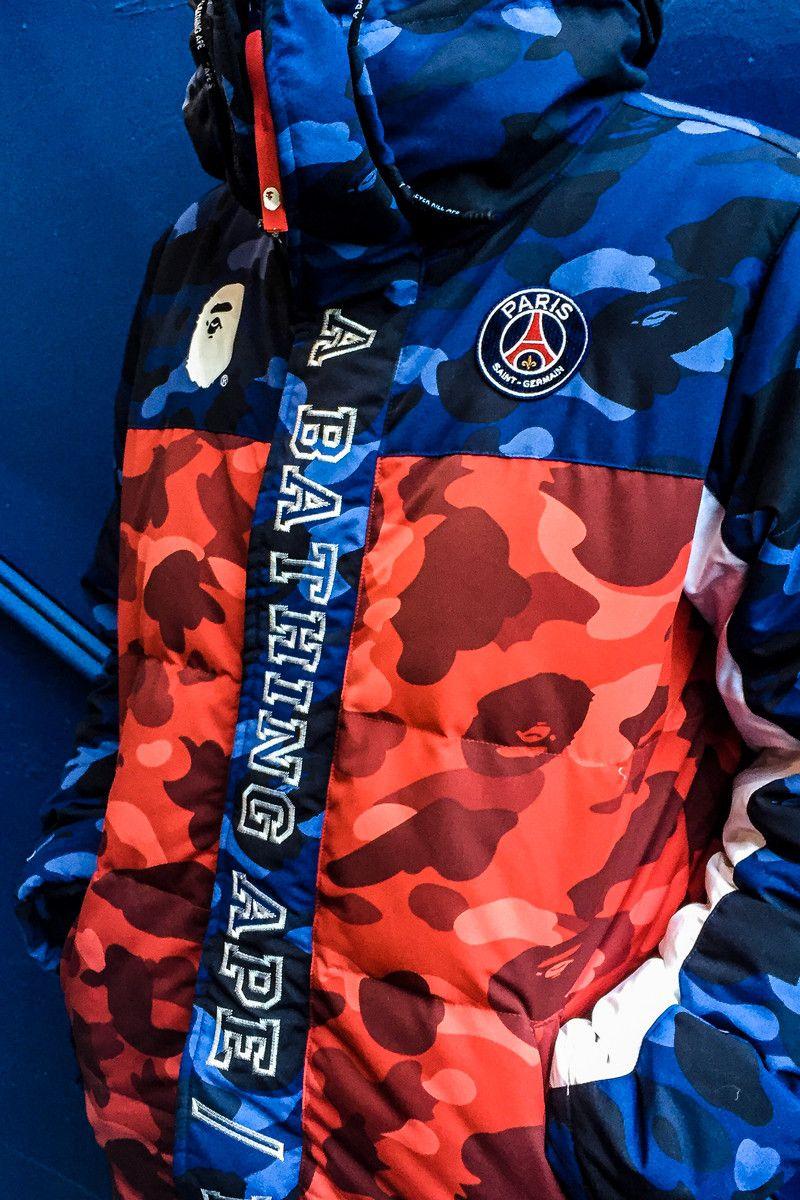 1eec7fdbd Paris Saint-Germain x BAPE a bathing ape Collaboration collection jacket  capsule red blue