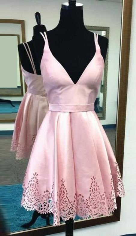 Short Homecoming Prom Dress Popular Pink Prom Dresses With V-Neck ...