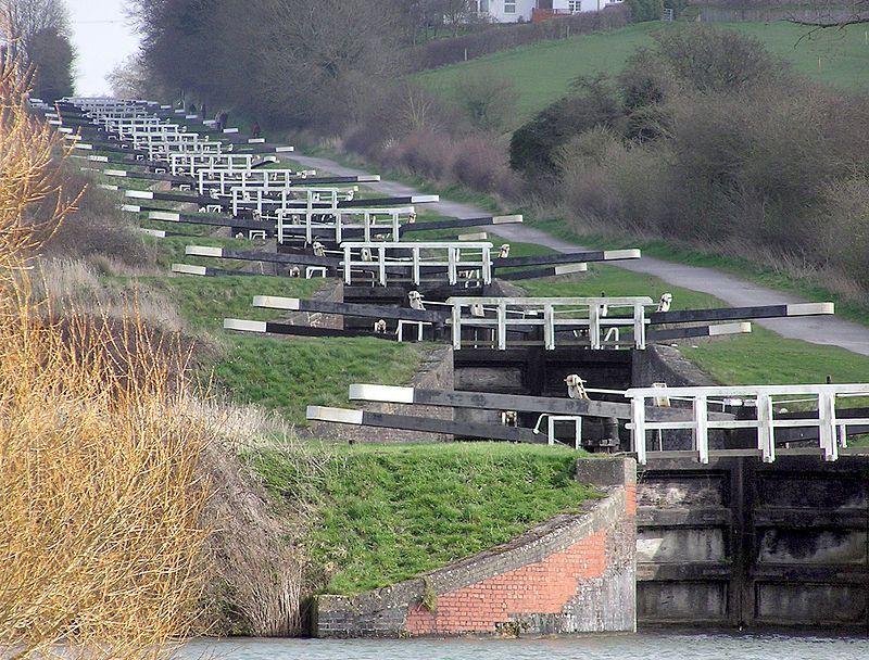 The flight of 16 locks at Caen Hill on the Kennet and Avon Canal.