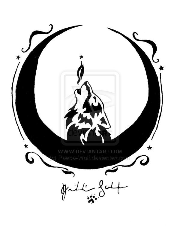 Moon Crescent Wolf By Peace Wolf On Deviantart Wolf Tattoos Moon Tattoo Wolf Moon
