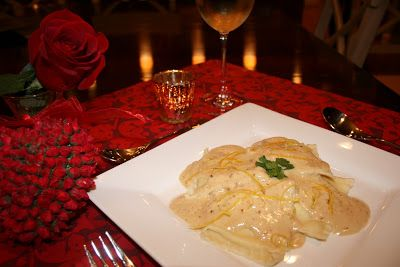 Lemon wine cream sauce for lobster ravioli. The sauce was a big hit with the Costco lobster ravioli we had bought.