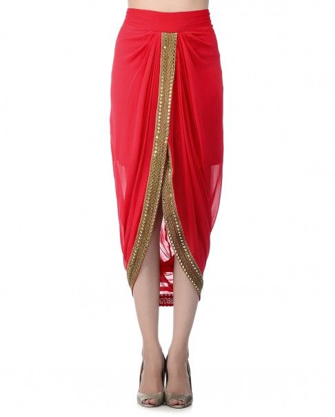 9c9722ecddb212 Red Draped Dhoti Skirt | Roshni Chopra design | Sarong dress, Indian ...