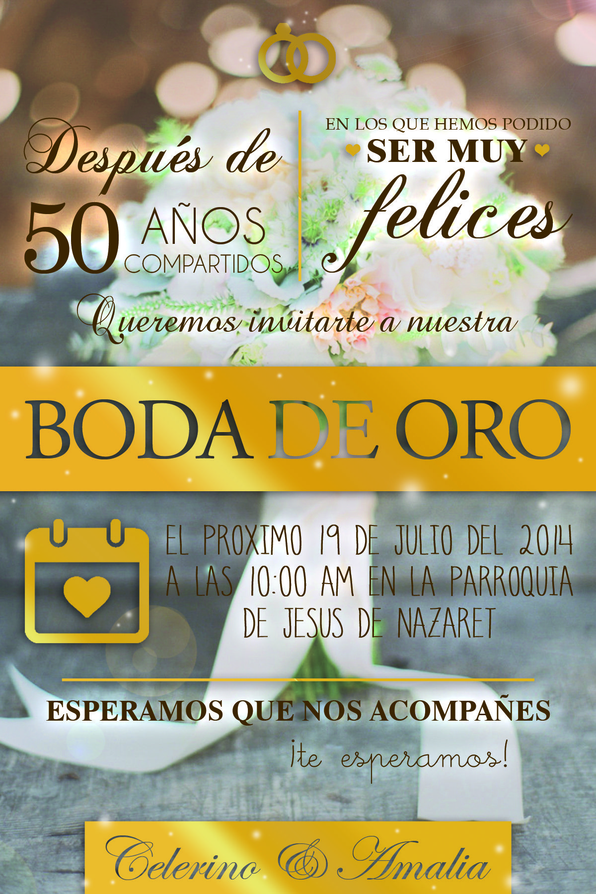 Boda De Oro Parents 50th Anniversary Invitaciones