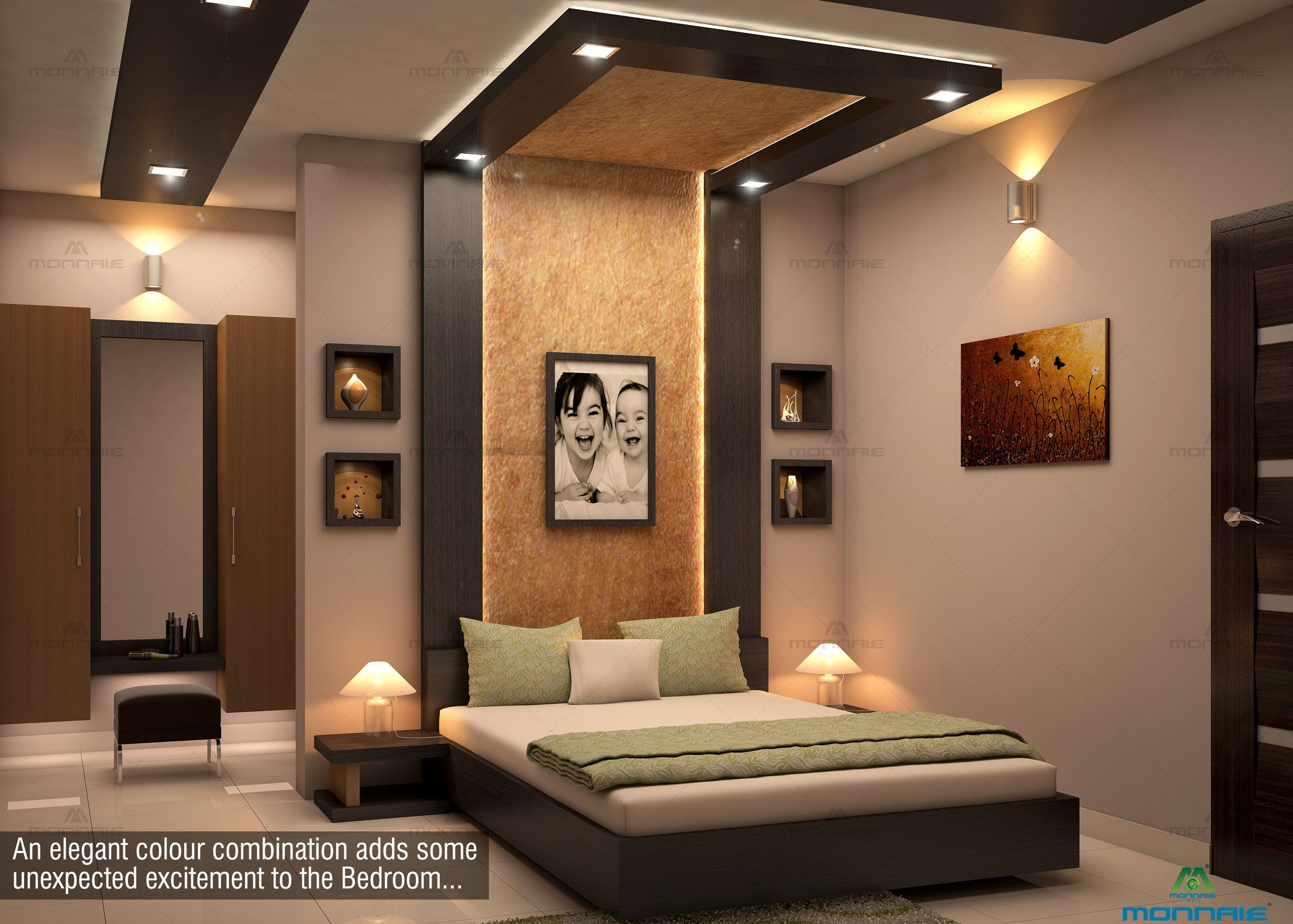 An Elegant Colour Combination Adds Some Unexpected Excitement To The Bedroom For Bedroom False Ceiling Design Modern Bedroom Interior Ceiling Design Bedroom