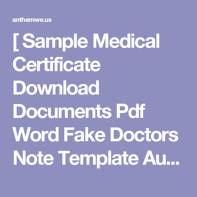 Sample Medical Certificate Download Documents Pdf Word Fake