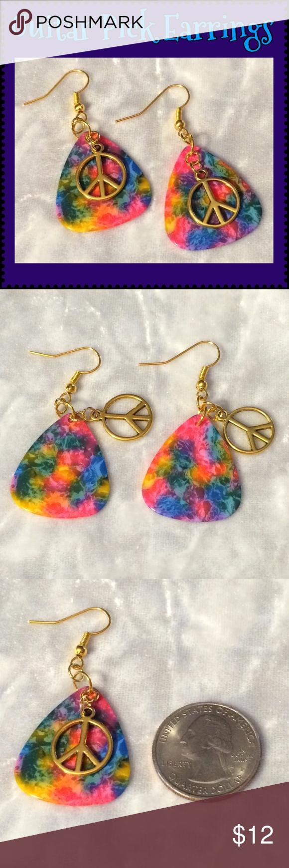 Download Tie Dye Guitar Pick Hippie Peace Sign Earrings | Artisan ...
