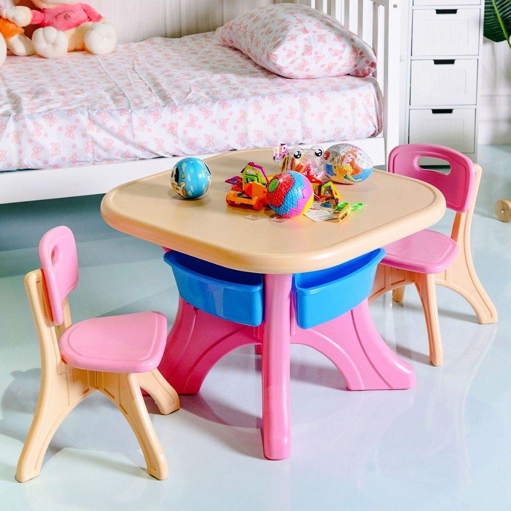Girls Table Chair Set Storage Drawers Indoor Outdoor Plastic Children Play 3pc Indoorfurnitures Kids Table Chair Set Kids Table And Chairs Play Furniture