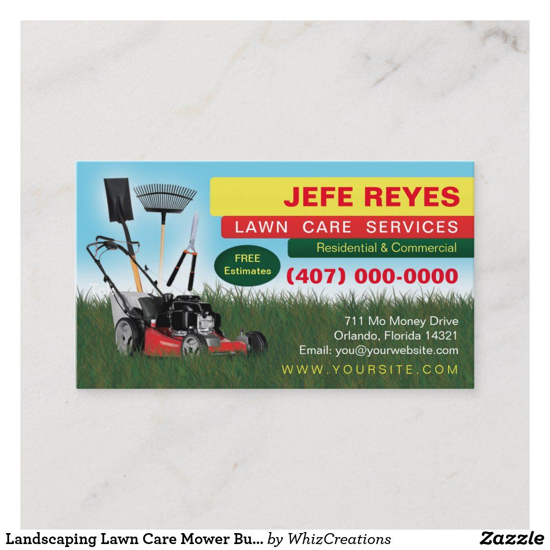 Landscaping Lawn Care Mower Business Card Template Zazzle Com Lawn Care Business Cards Lawn Care Business Lawn Care