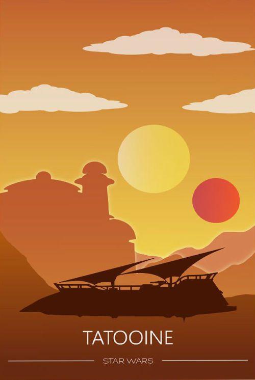 Tatooine Minimalist Poster - Anny Jull | Star wars, Star wars poster, Vintage star wars