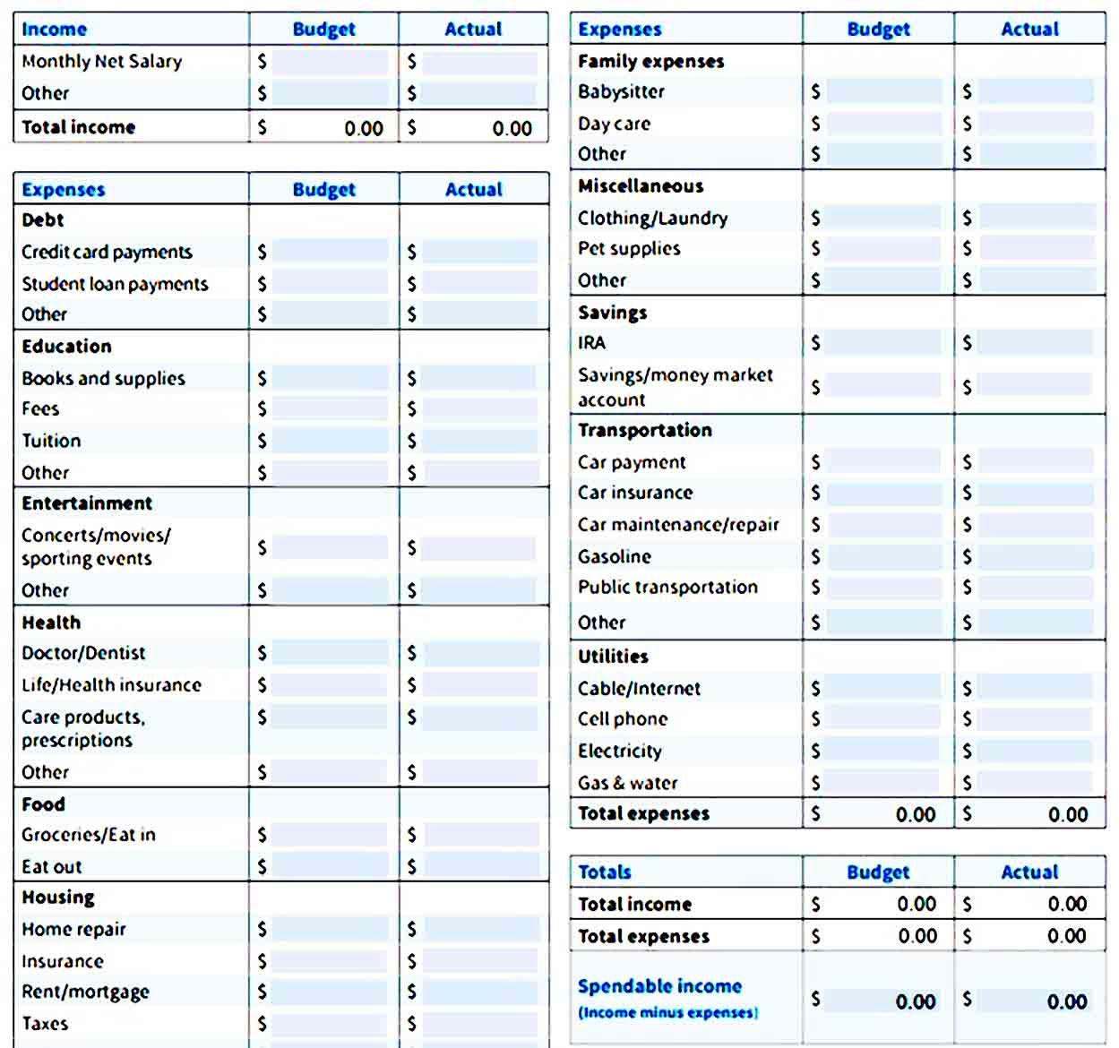 Printable Budget Worksheets Printable In