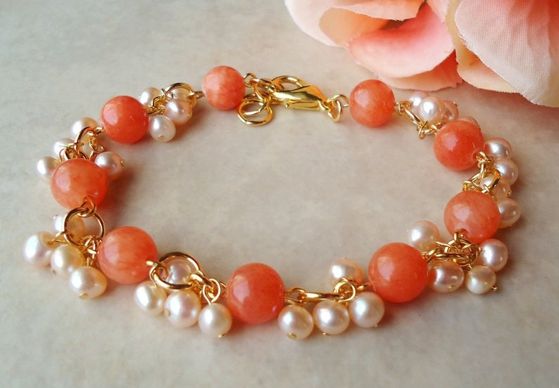 Multi Colors Cluster Bracelet.White Pearl.Coral Artisan Glass.Small Bracelet.Bridal.Dainty.Orange.Colorful.Beaded.Chunky.Valentine.Handmade.