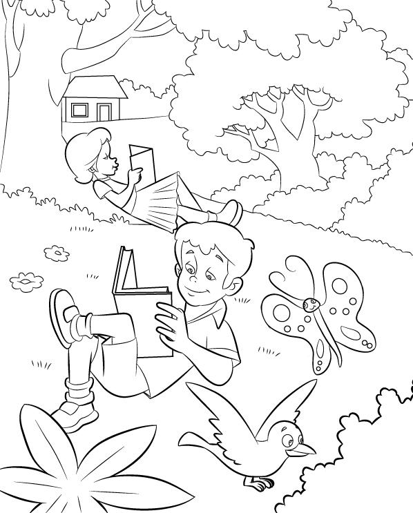 April Spring Activity Coloring Sheets - Spring day cartoon ...