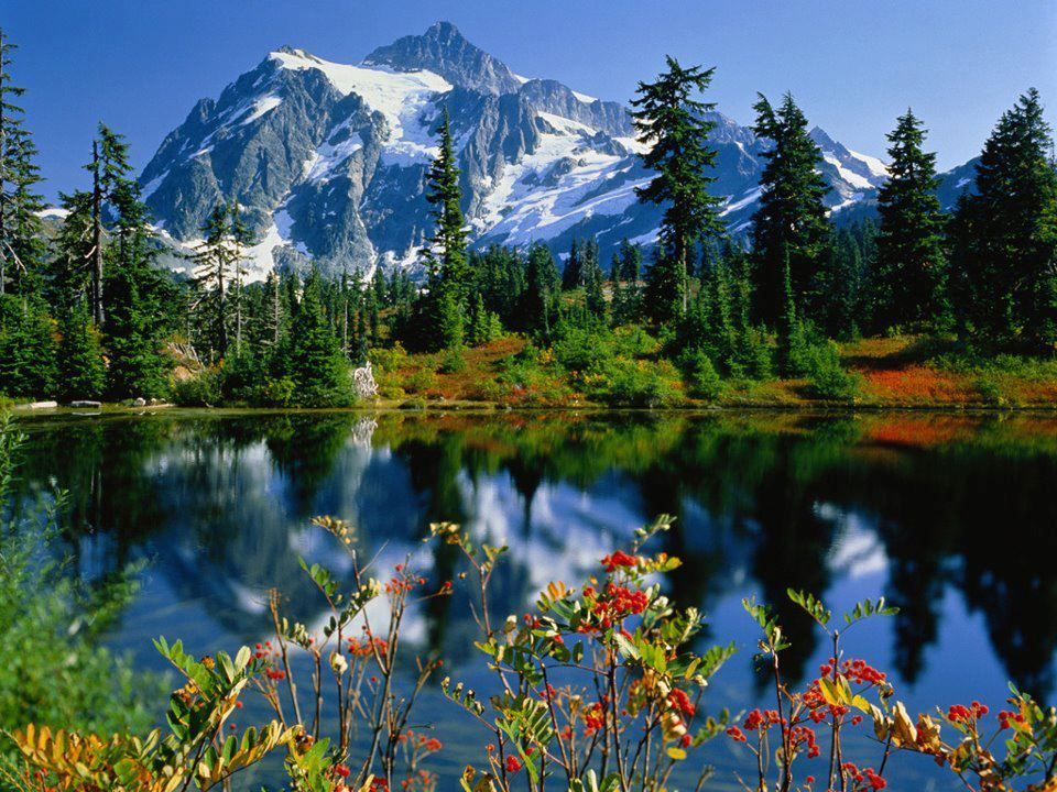 Love.... snow capped mountains, cool mountain lakes and wild ...