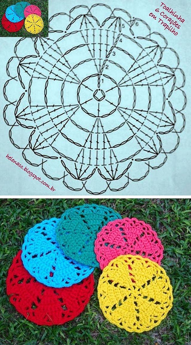Hearts coaster - cute & simple   . . . .   ღTrish W ~ http://www.pinterest.com/trishw/  . . . .  #crochet #heart