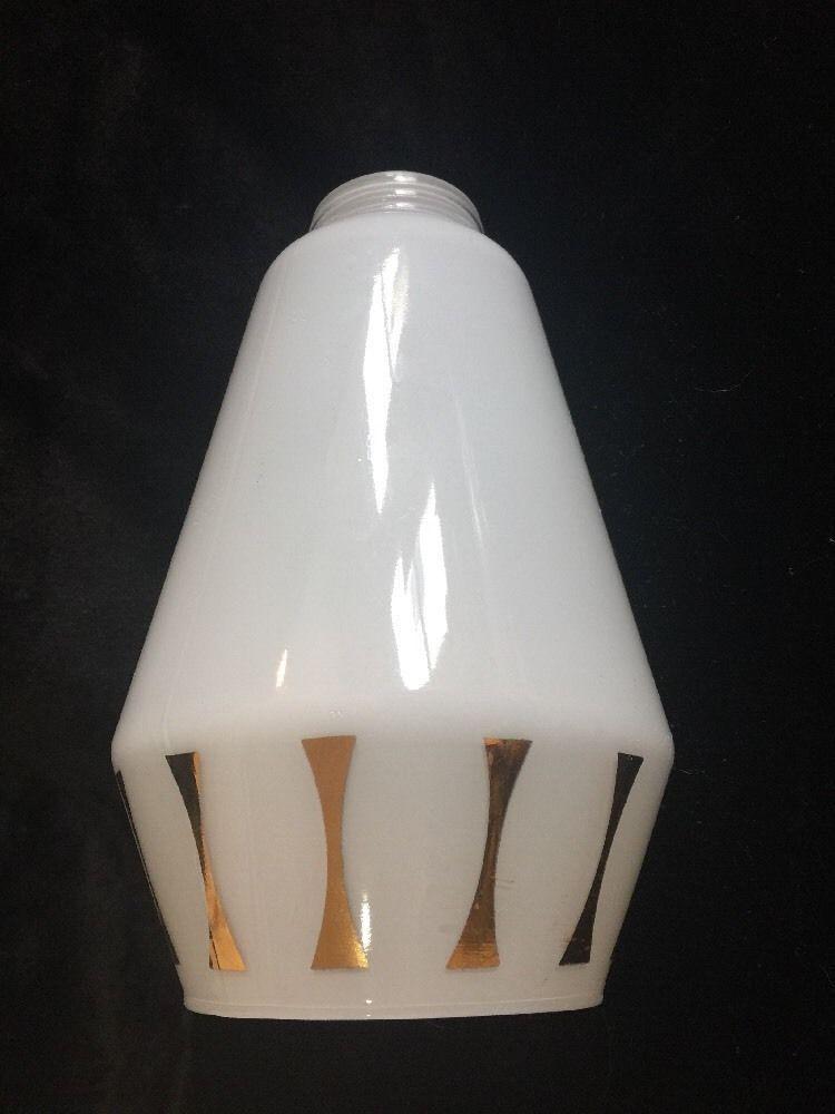 Pole Lamp Shade Mcm Globe Vtg Tension Replacement White Glass Gold Retro Atomic Ebay Pole Lamps White Glass Lamp Light