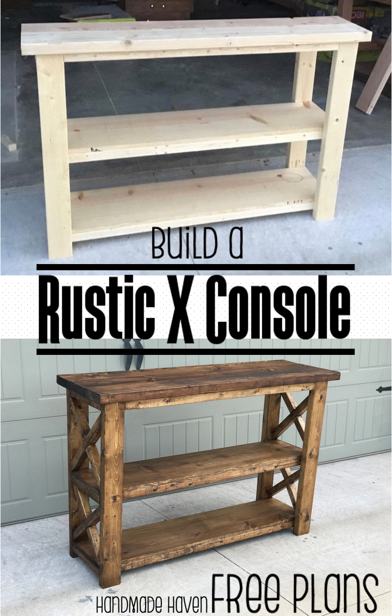 X console table fun diy woodworking plans and woodworking build this easy fun diy rustic x console free step by step woodworking plans on how to build this console solutioingenieria Image collections