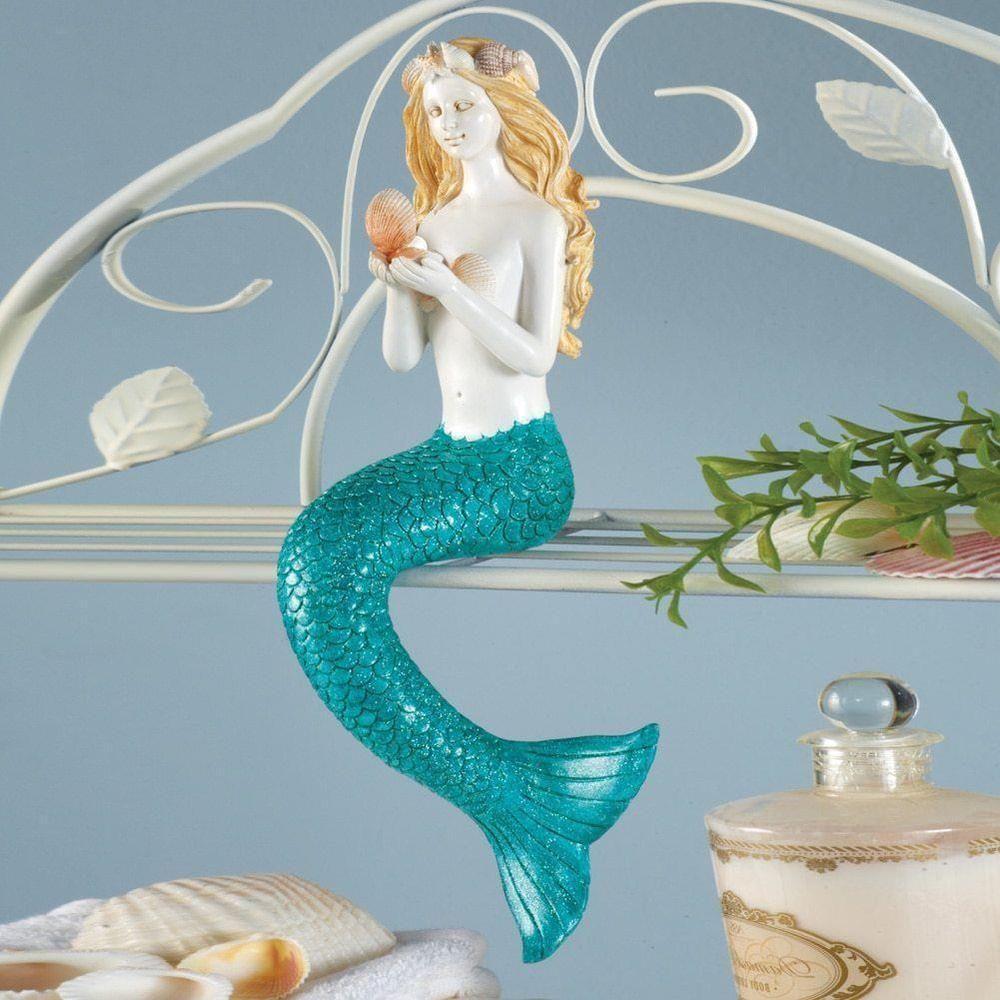 New Coastal Beach Aqua Seashell Accented Mermaid Shelf Sitter Sculpture Statue Mermaid Home Decor Mermaid Boho Bathroom