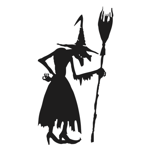 Standing Witch With A Broomstick Silhouette Transparent Png Svg Vector Witch Silhouette Graphic Image